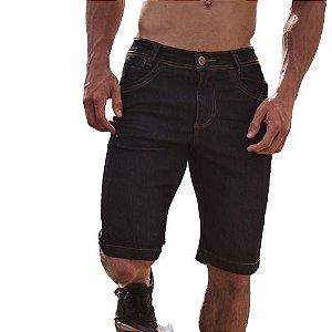Bermuda Preta Masculina Jeans Com Layca Slim Fit Original