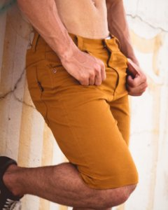 Bermuda Masculina Jeans  Layca Slim Fit Original Mostarda