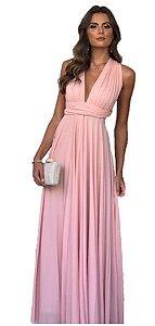 Vestido de festa infinito Rosa Longo madrinha casamento Formatura