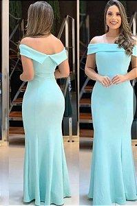 Vestido Azul serenity  Longo de Festa Madrinha casamento ombro a ombro