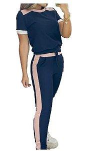 conjunto Feminino calça Blusa manga curta  preto com Rosa