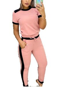 conjunto Feminino calça Blusa manga curta Rosa