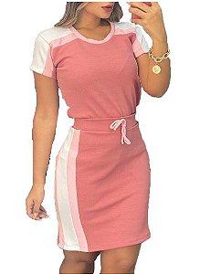 Conjunto feminino saia e Blusa Manga curta Lançamento Rosé