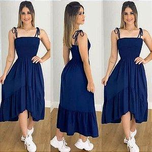 Vestido longo princesa Casual Rodado Alcinha Azul Marinho