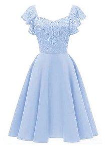 Vestido Azul Serenity curto Princesa Rodado madrinha casamento formatura