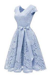 Vestido Azul Serenity curto Princesa Renda Rodado madrinha casamento formatura
