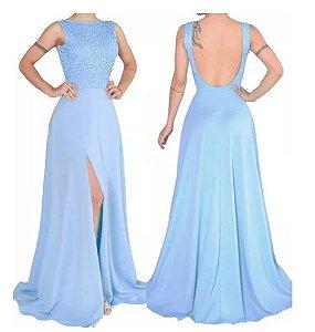 Vestido Festa Azul Serenity Longo Fenda madrinha casamento formatura