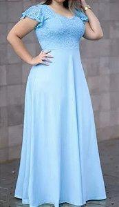 Vestido Azul Serenity Manga Plus size Renda Madrinha Casamento Formatura