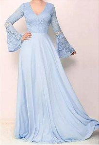Vestido Azul Serenity Manga longa  Renda Madrinha Casamento Formatura