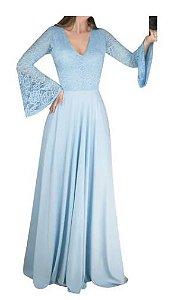 Vestido Azul Serenity Longo Godê manga Flare  Madrinha Casamento Formatura