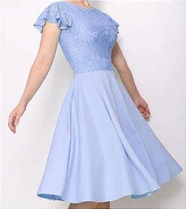 Vestido Azul Serenity Curto Festa Godê  Madrinha Casamento Formatura