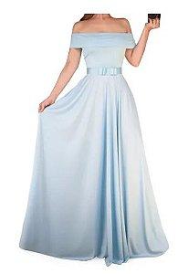 Vestido Azul Serenity Ombro a Ombro Festa Madrinha Casamento Formatura