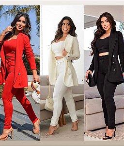 Maxi Blazer Feminino conjunto jaqueta Calça Cropped
