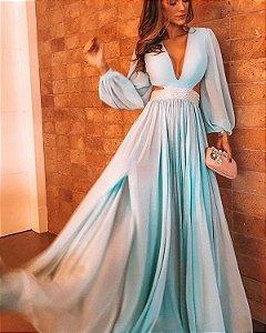 Vestido Longo azul serenity  Festa Madrinha Casamento Formatura