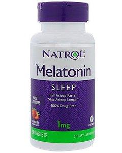 Melatonina 1mg Fast Dissolve (Dissolução Rápida) Sabor Morango - Natrol - 90 Comprimidos