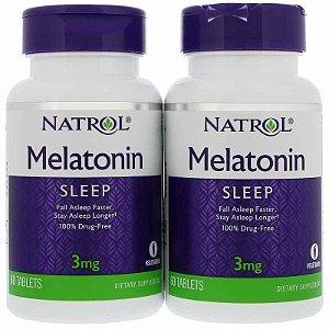 Melatonina 3 mg, (2 Potes com 60 Comprimidos Cada) -Total de 120 Comprimidos