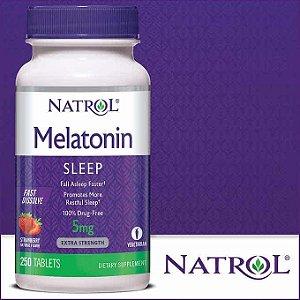 Melatonina 5mg Natrol Fast Dissolve sublingual Sabor Morango - 250 comprimidos
