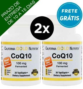 "2X CoQ10 (Coenzima Q10) 100mg - California Gold Nutrition - 30 ""Cápsulas gel"" vegetarianas"