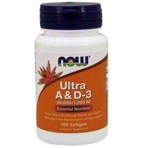 Vitamina Ultra A e D3 100 Cápsulas - Now Foods