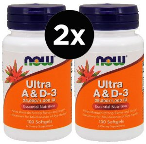 2X Vitaminas Ultra A e D3 100 Cápsulas - Now Foods