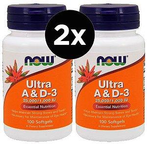 2X Vitamina Ultra A e D3 100 Cápsulas - Now Foods