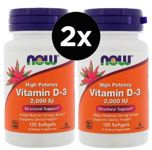 2X Vitamina D3 2,000 IU - Now Foods -120 Capsulas