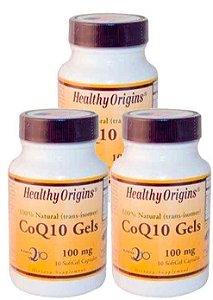 3 Potes de CoQ10 (Coenzima Q10) 100 mg  - Healthy Origins - 10 Cápsulas (Total de 30 Cápulas)