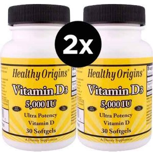 2x Vitamina D3, 5.000 IU, 30 Softgels - Healthy Origins (TOTAL DE 60 CÁPSULAS)