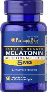 Melatonina 5mg - Puritan's Pride - Rápida Liberação, 60 Cápsulas (Força Máxima)