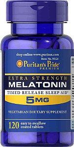 Melatonina 5 mg - Time Release - 120 comprimidos - Força Extra - Puritans Pride