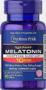 Melatonina Dissolução Rápida Puritan's Pride 10mg, 90 comprimidos Sabor Morango