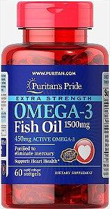 Ômega 3 Óleo de Peixe 1500 mg, 60 cápsulas (com 450 mg de Ômega-3 Ativo)