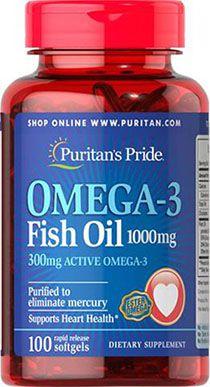 Ômega 3 Óleo de Peixe 1000 mg, 100 cápsulas (com 300 mg de Ômega-3 Ativo)
