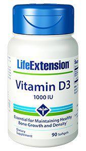 Vitamina D3 1,000 IU, com 90 cápsulas, Life Extension
