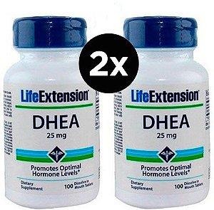 2X Dhea 25 mg Life Extension 100 Comprimidos Sublingual - Rápida Dissolução