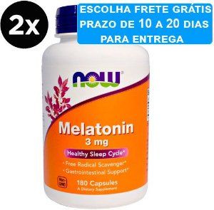2x Melatonina 3 mg - Now Foods - 180 cápsulas