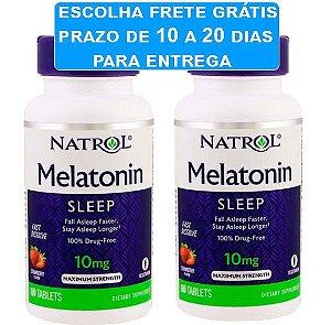 2X Melatonina 10mg Fast Dissolve (Dissolve na boca) sabor morango - Natrol - 60 comprimidos