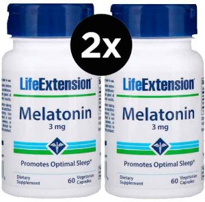 2X Melatonina, 3 mg, 60 capsulas, Life Extension