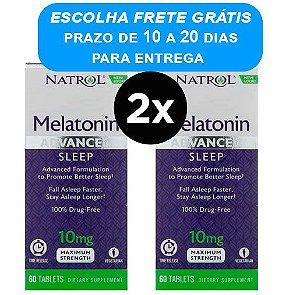 2X Melatonina 10mg Natrol Liberação Rápida e Gradual - 60 comprimidos Força Máxima