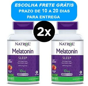 2X Melatonina 10mg Rápida Dissolução, Sublingual Sabor Morango Natrol 100 comprimidos