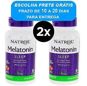 2X Melatonina 3mg Natrol [Sublingual] Fast Dissolve (90 comprimidos) - Sabor Morango