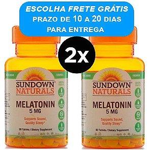 2X Melatonina Sundown Naturals 5mg Força Extra, 90 comprimidos