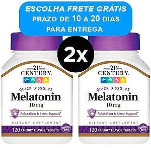 2X Melatonina 10mg Century 120 Comprimidos de Dissolução Rápida - Sabor Cereja
