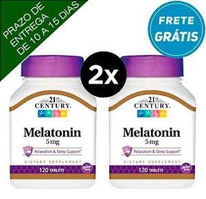 2X Melatonina 5mg - 21st century - 120 comprimidos ( TOTAL DE 240 COMPRIMIDOS )
