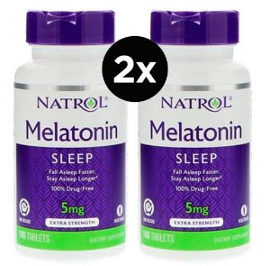 2x Melatonina 5mg Time Release (Liberação Gradual) - 100 comprimidos Natrol