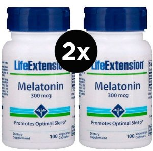 2X Melatonina Life Extension, 300 mcg, 100 cápsulas vegetarianas