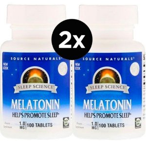 2X Melatonina 1 mg, Source Naturals,100 Comprimidos