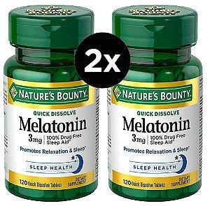 2X Melatonina 3mg Rápida Dissolução, Nature's Bounty - 120 comprimidos