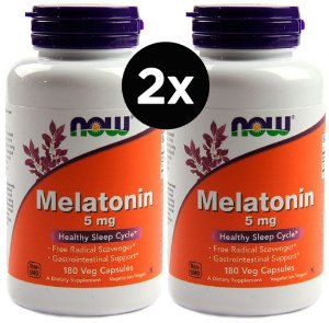 2X Melatonina 5mg, Now foods, 180 Cápsulas