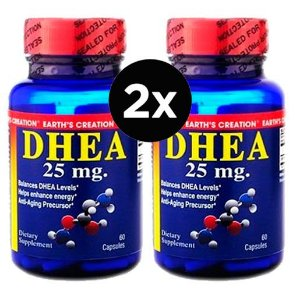 2X DHEA 25MG Earth's Creation  - 60 CÁPSULAS
